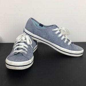KEDS Lace Up Striped Blue Gray Denim Sneakers
